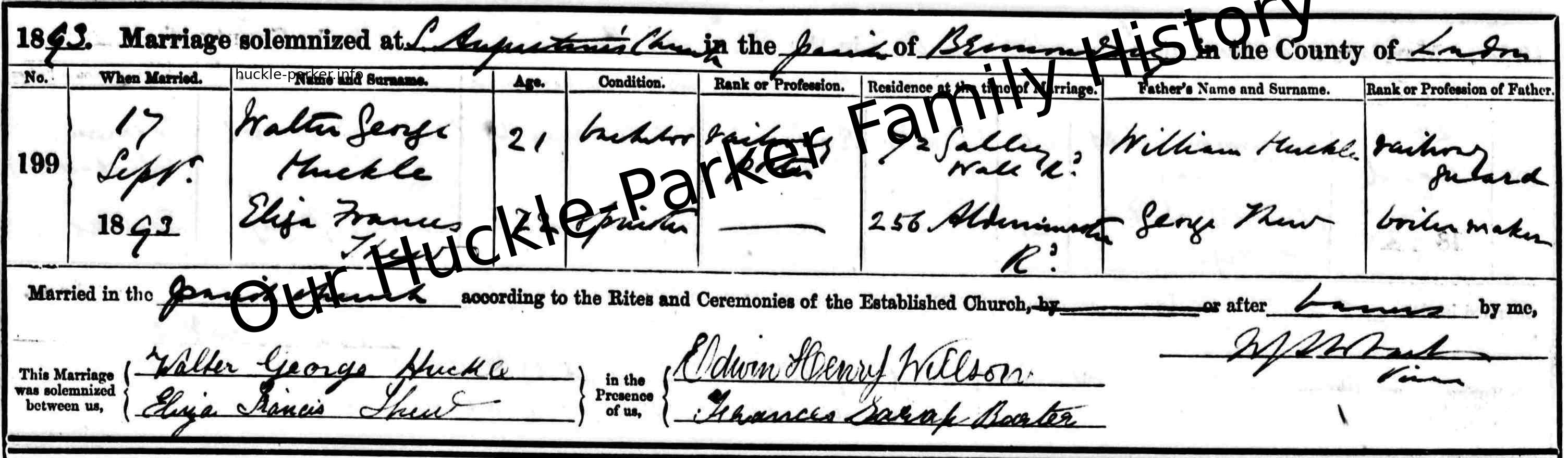 Original Marriage Entry