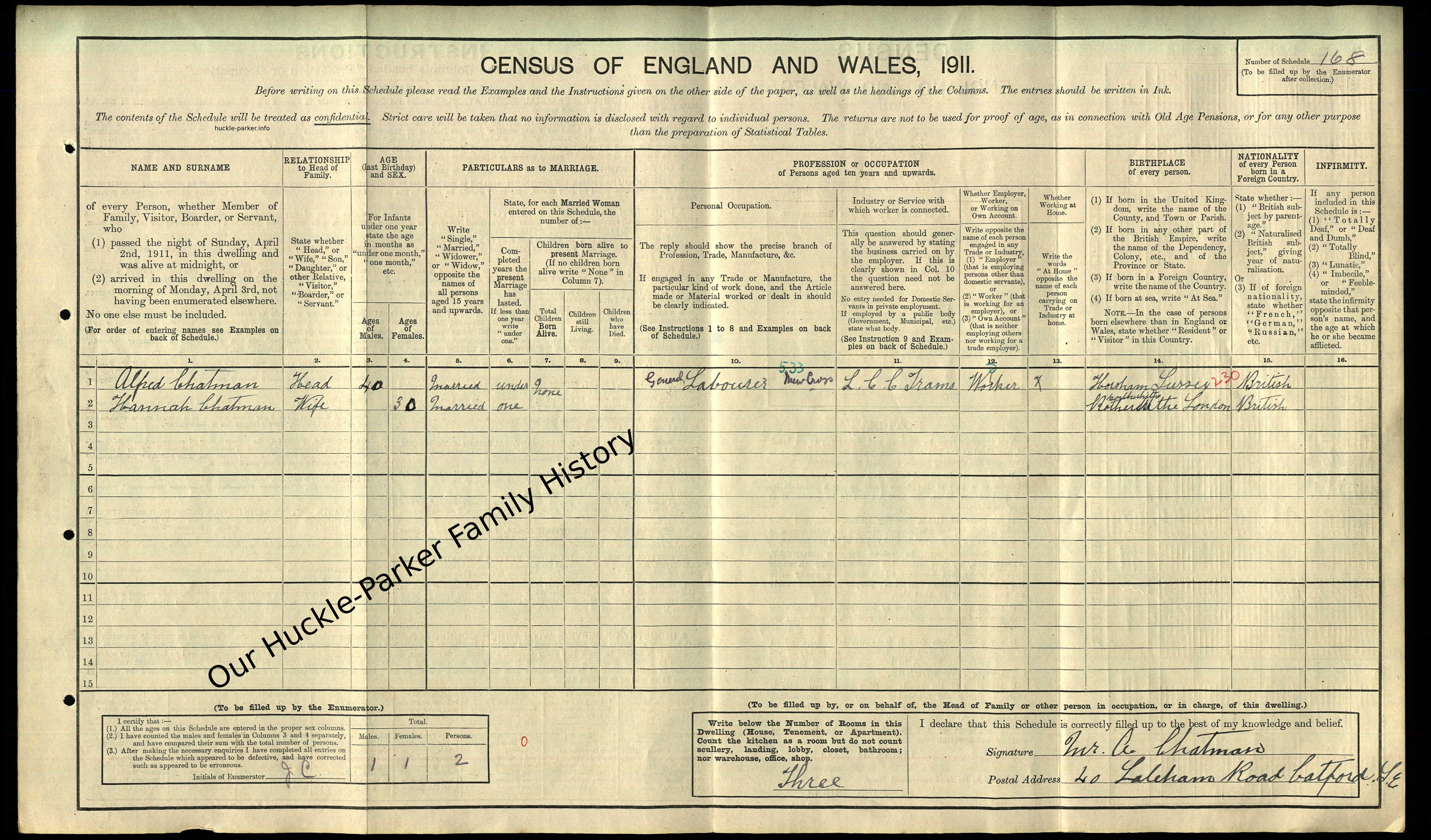 1911 census showing surname & where born